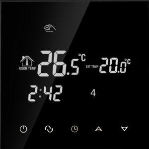 Termostats apsildāmās grīdas ar iebūvētu WIFI moduli, 16A, melna, 86 * 86mm
