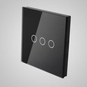Liels stikla panelis slēdzim, trīs virzieni, melns, 86 * 86mm