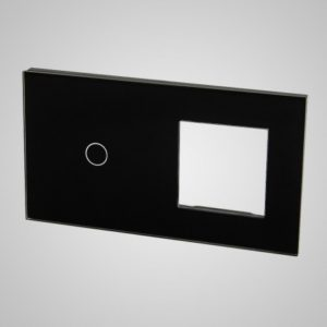 Liels stikla panelis slēdžiem, 1 + rāmis, melns, 86 * 157mm