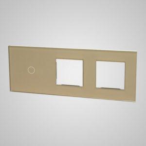Liels stikla panelis slēdžiem, 1 + 2Xrāmis, zelts, 86 * 228mm