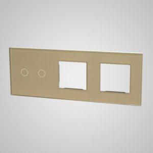 Liels stikla panelis slēdžiem, 2 + 2Xrāmis, zelts, 228 * 86mm