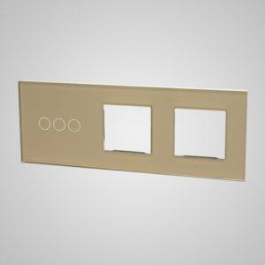 Liels stikla panelis slēdžiem, 3 + 2Xrāmis, zelts, 228 * 86mm