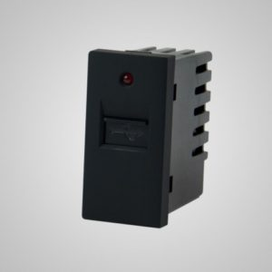USB lādētājs-slots, 220VAC 1A, melns, 1/2